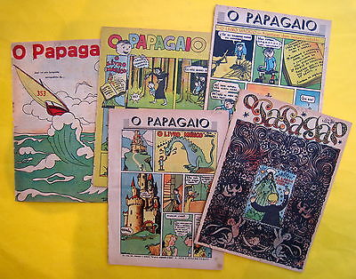 TINTIN HERGE O PAPAGAIO 5 FASCICULES TIM TIM ILHA NEGRA EN PORTUGAIS BON ETAT