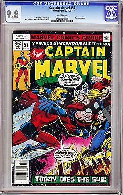 "CAPTAIN MARVEL #57 BOB WIACEK (1978) CGC 9.8 WP ""Captain Marvel vs Thor"""