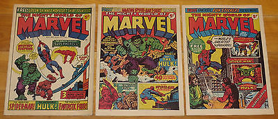 High Grade 1972 MIGHTY WORLD OF MARVEL MAGAZINE (UK) No. 1, 2, 3 SCARCE NR