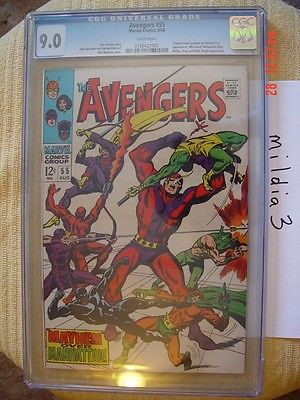 The Avengers #55 (1968, Marvel) CGC 9.0 WHITE PAGES 1st appearance ULTRON