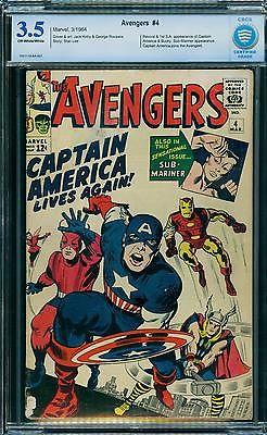 Avengers 4 CBCS 3.5  1st SA Captain America  ow/w pages  CGC / CBCS