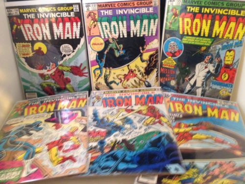 Lot of 6 Iron Man Comics 86,121,124,125,137,158 uncertified Marvel 1979