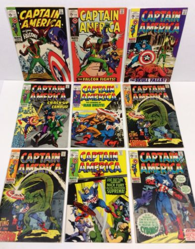 Captain America #117,118,119,120,121,122,123,124 KEYS 1st FALCON (9 Iss LOT/RUN)