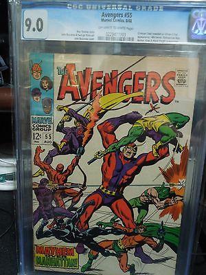 Avengers #55 CGC 9.0 VF 1st app Crimson Cowl Ultron-5 Whirlwind Radioactive Man