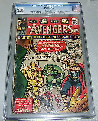 AVENGERS 1 CGC 3.0 OW UNRESTORED KEY 1st appearance GD/VG LOOKS 3.5