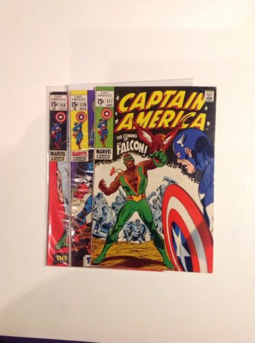 Captain America Lot # 117, 118, 119. First Falcon Winter Soldier Silver Age