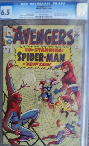 AVENGERS #11-SPIDER-MAN CROSSOVER--SILVER-AGE MARVEL-1964-THOR-CGC 6.5