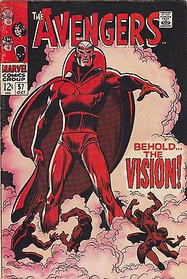 Avengers #57, 1st appearance of The Vision  Marvel Oct 1968