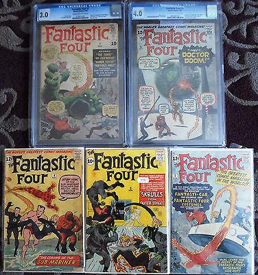 Fantastic Four #1 - 5  1st FF, Skrulls, Subby, Dr Doom (1 & 5 -CGC 3.0 & 4.0)