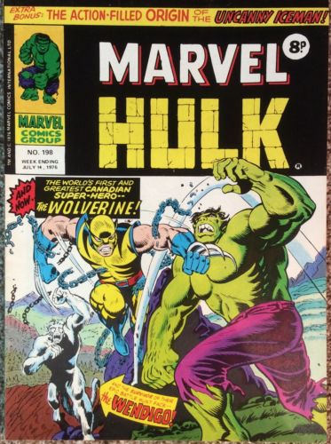 Mighty World of Marvel #198 UK 1976  1st Wolverine. VF condition Bagged,boarded.
