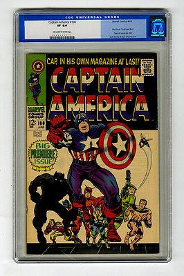 Captain America #100 CGC 8.0 OW/W Iron Man Thor Marvel Silver Age Comic Avengers