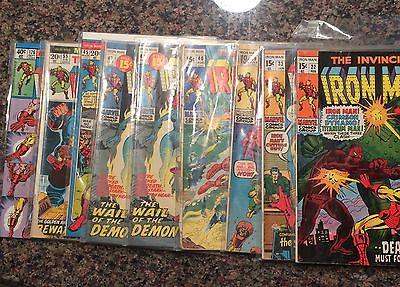 The invincible Iron Man Lot of 9 comic books. #s 22,33,39,40,42,45,55,126