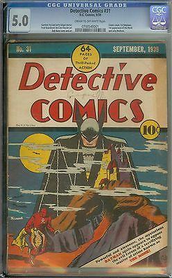 DETECTIVE COMICS #31 CGC 5.0 CR/OW PAGES // CLASSIC COVER/1ST BATPLANE