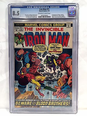 Iron Man #55 CGC 8.5 (Marvel, 1973), 1st THANOS, 1st DRAX, Avengers, Looks 9.0