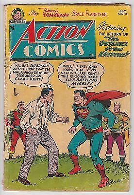 ACTION COMICS #194,CLARK vs SUPERMAN,BORING ART