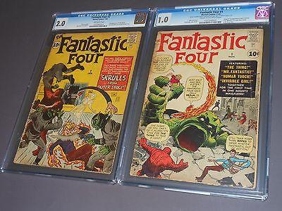 Fantastic Four #1 1961 CGC 1.0 & Fantastic Four #2 1962 CGC 2.0 Marvel Classic