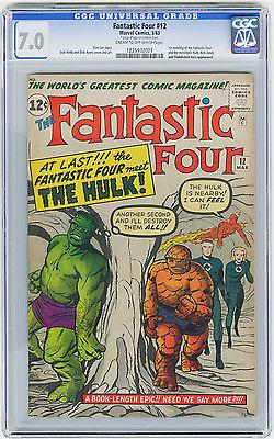 Fantastic Four #12 CGC 7.0 1st Meeting Hulk/Fantastic Four Kirby Marvel Comic