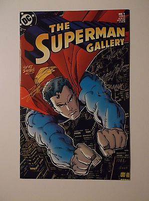 SUPERMAN GALLERY # 1 SIGNED BY 6 - ADAMS, PEREZ, ORDWAY - 9.6/9.8 WITH C.O.A.