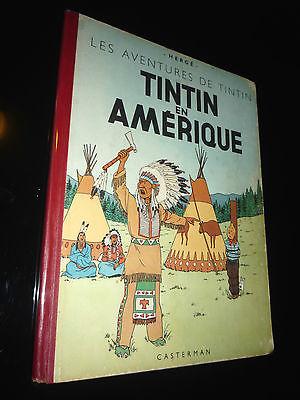 TINTIN EN AMERIQUE HERGE TRES RARE B2 ED 1948 RECARTONNAGE 1946 TBE