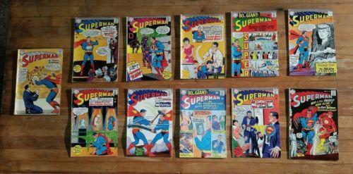 Vtg DC Superman Silver Age Comic Lot 172 185 191 192 193 194 195 196 197 198 199