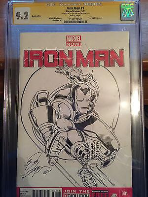 Iron Man #1 Sketched by Bob Layton Iron Man in Spider-Man 300 Pose CGC 9.2