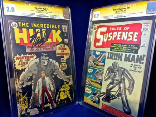 Tales of Suspense #39 CGC 4.0 & Hulk #1 CGC 2.0 SIGNED Stan Lee Marvel set lot