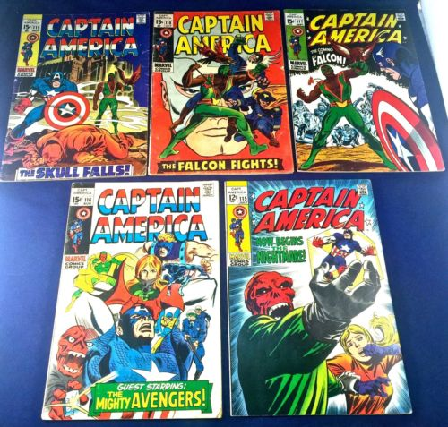 Captain America #115 116 117 118 119 Marvel Falcon appearance set lot NO RESERVE