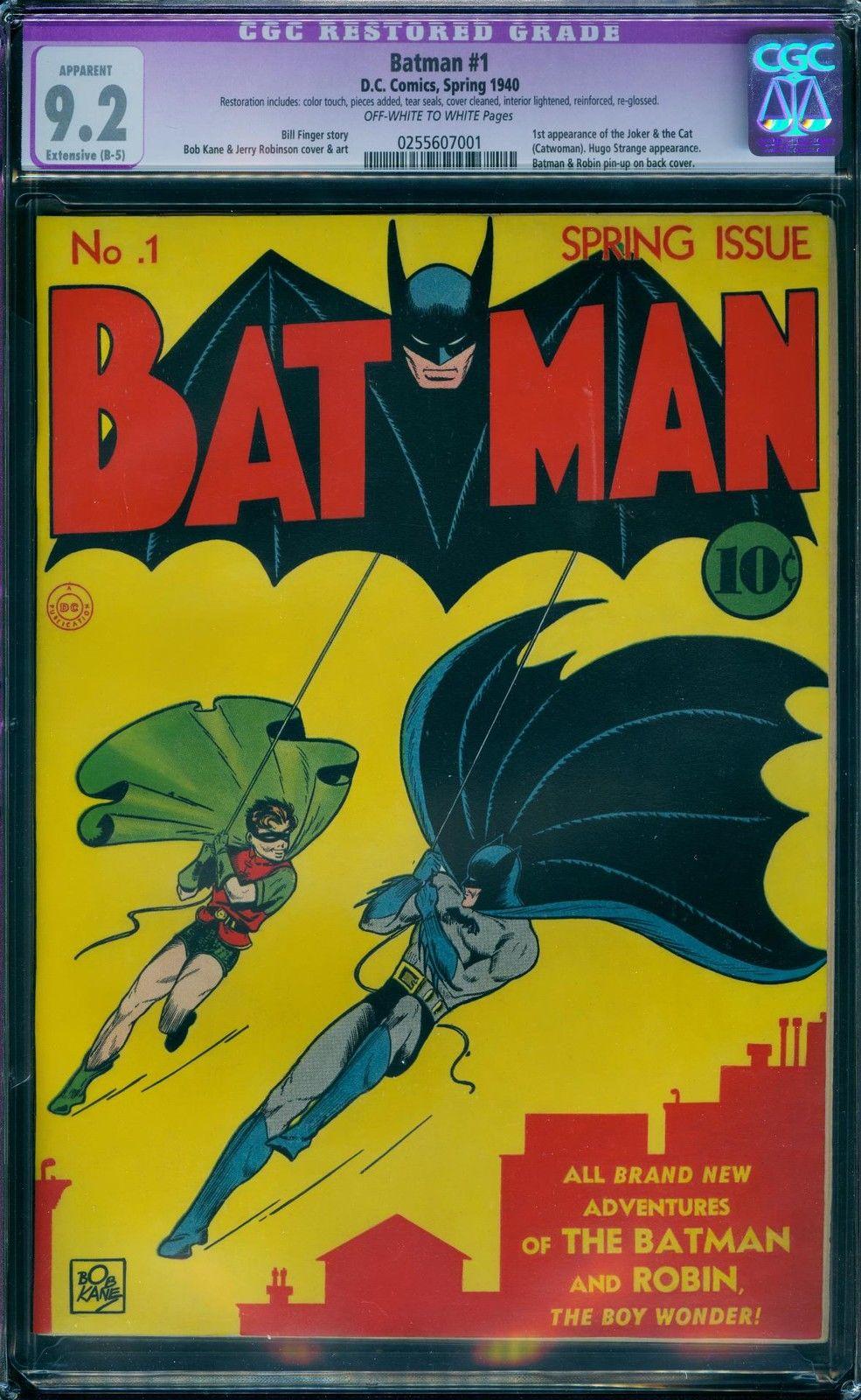 Batman 1 CGC 9.2 Restored (1940)  1st Joker