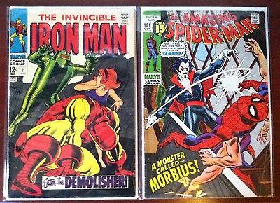 Spiderman #101 Morbius First apperance & Iron Man #2 Silver Age Key Comics