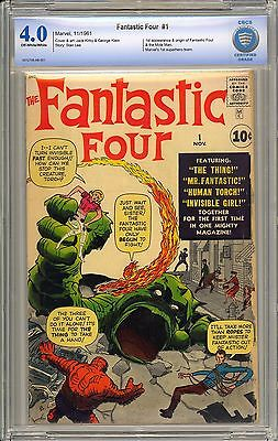 Fantastic Four #1 Very Nice Unrestored OW/W Pages Marvel Comic 1961 CBCS 4.0