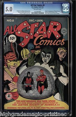 ALL STAR COMICS #8 CGC 5.0 1941 OW 1ST APP & ORIGIN OF WONDER WOMAN  1127422001