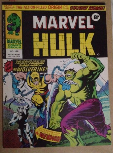 Mighty World Of Marvel #198 July 14, 1976 1st Wolverine VGC