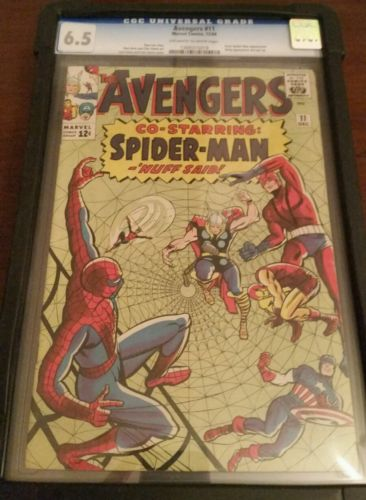 The Avengers 11 CGC 6.5 ow/w pages 1st Spider-man app. in Avengers.