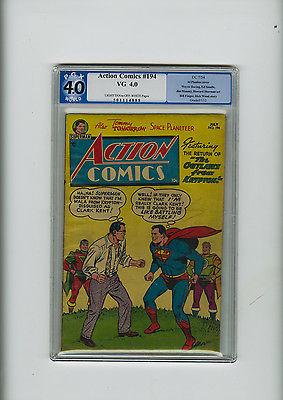 Action Comics #194 PGX 4.0 VG DC Golden Age Superman