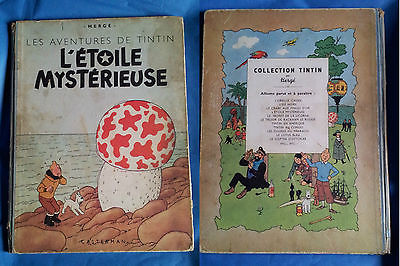 Tintin L'étoile Mystérieuse B1 1946 dos bleu papier fin EM Hergé
