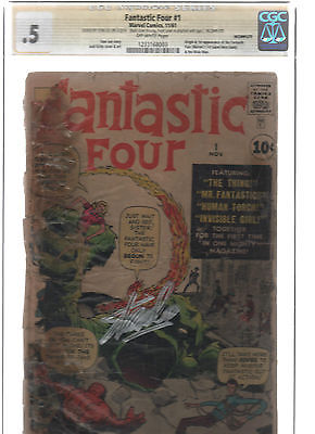 Fantastic Four 1: CGC 0.5; 1st Appearance of Fantastic Four; Signed by Stan Lee