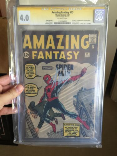 Amazing Fantasy #15 CGC 4.0 SS Stan Lee Signed 1st Appearance Of Spider-Man