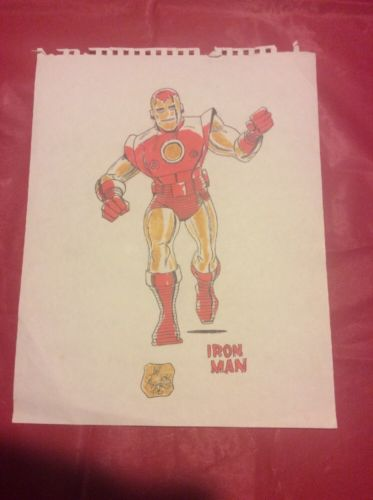 Dick Ayes Original Art Iron Man Color Drawing Signed 100% Real/Authentic