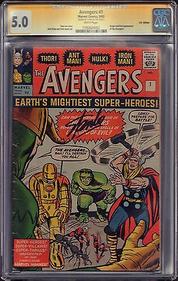 RARE AVENGERS #1 (Sep. 1963) CGC 5.0 WHITE PAGES SS Signed Stan Lee UK Edition
