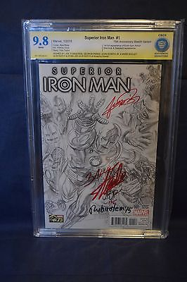 Superior Iron Man # 1 Ross 1:300 sketch variant CBCS 9.8 X5 SIGS (STAN LEE)