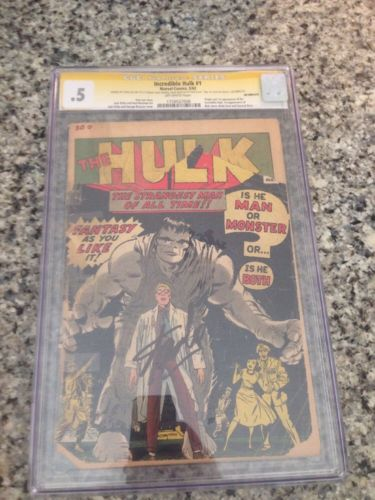 Incredible Hulk # 1 Issue 1 Cgc 0.5 Signed By Stan Lee, From Avengers & Captain