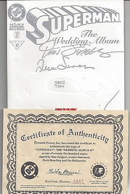 SUPERMAN THE WEDDING ALBUM #1 *SIGNED 4X* JURGENS SIMONSON BREEDING RUBINSTEIN
