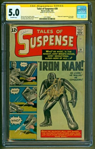 Tales of Suspense #39 (1963 Marvel) 1st app Iron Man SIGNED Stan Lee SS CGC 5.0