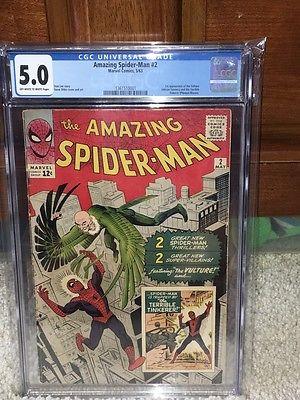 Amazing Spider-Man #2 CGC 5.0 Marvel 1963 1st Vulture Avengers F4 131 1 cm