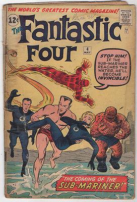 Fantastic Four #4  FR 1.0 complete  1962 Marvel