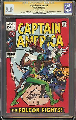 Captain America #118 CGC 9.0 VF/NM W SIGNED STAN LEE 2nd app. Falcon & Redwing