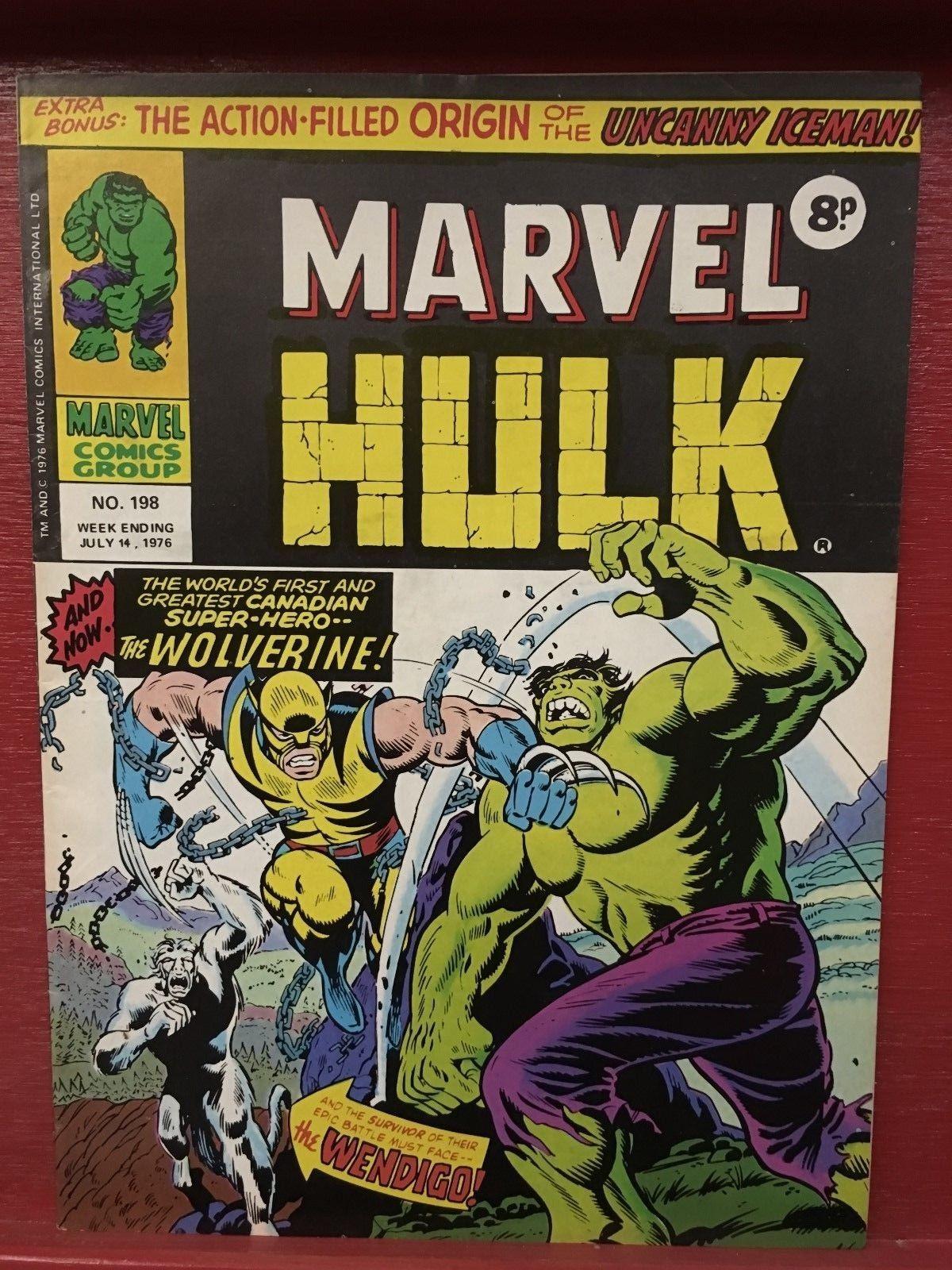 1976 UK / Mighty World Marvel #198 INCREDIBLE HULK 181 VF+* 1st WOLVERINE Rare