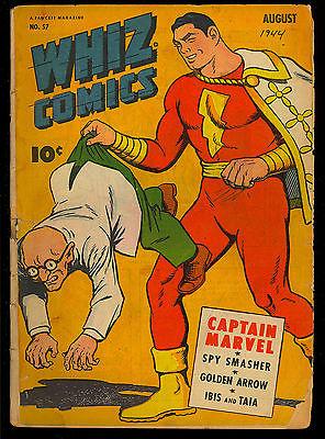 Whiz Comics #57 Unrestored Golden Age Captain Marvel Fawcett 1944 GD-