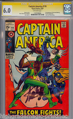 CAPTAIN AMERICA #118 CGC 6.0 STAN LEE SIG SERIES 2ND FALCON  # 1197098006