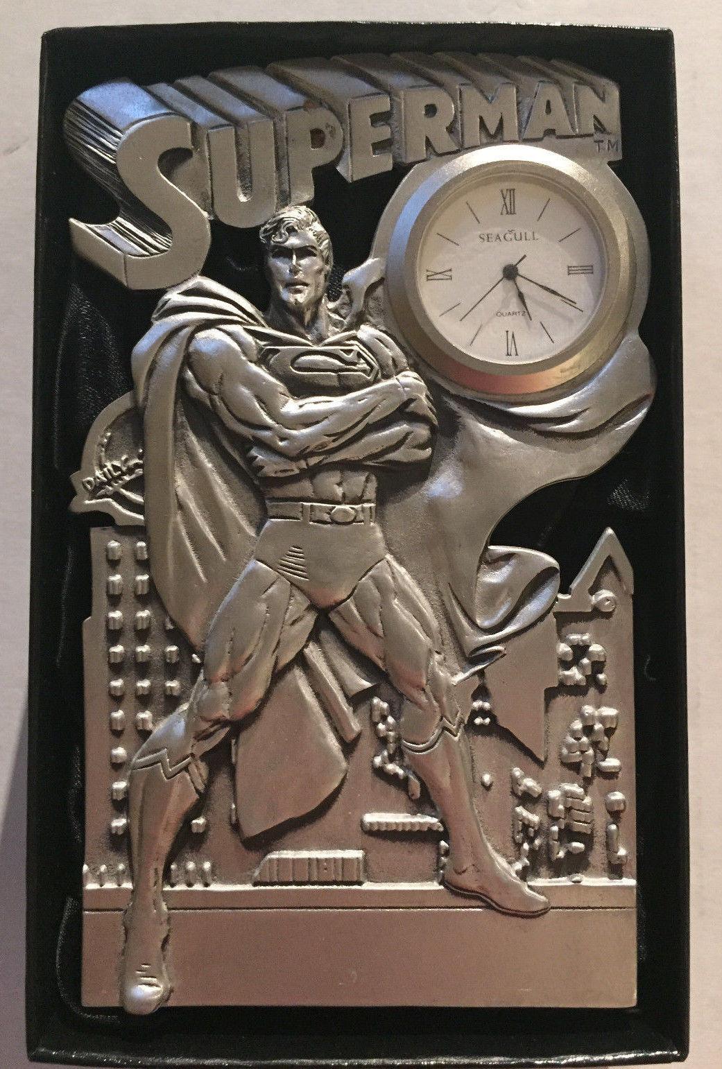 Superman Fine Pewter Desk Clock Warner Bros Gallery WBSS 32/750 W/ COA LOW #